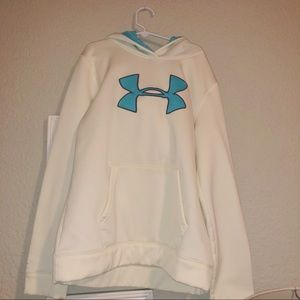 white and blue under armour sweatshirt